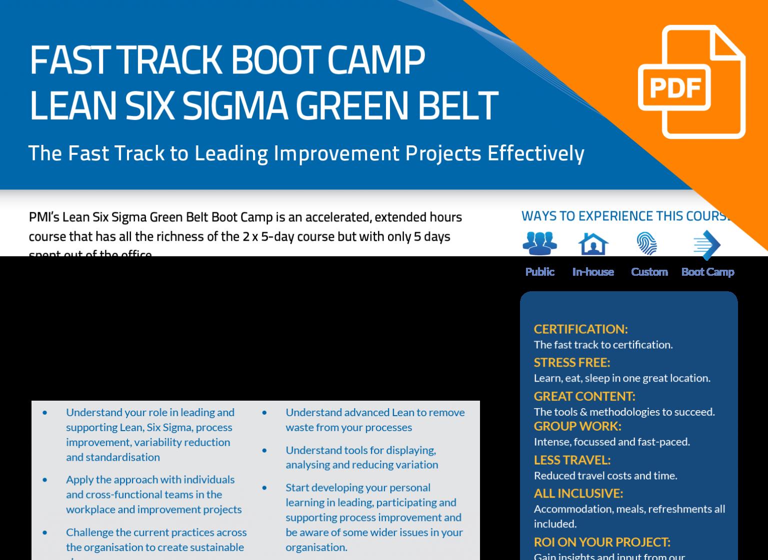 FLYER: Fast Track Green Belt Boot Camp