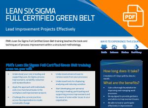 FLYER: Lean Six Sigma Full Certified Green Belt