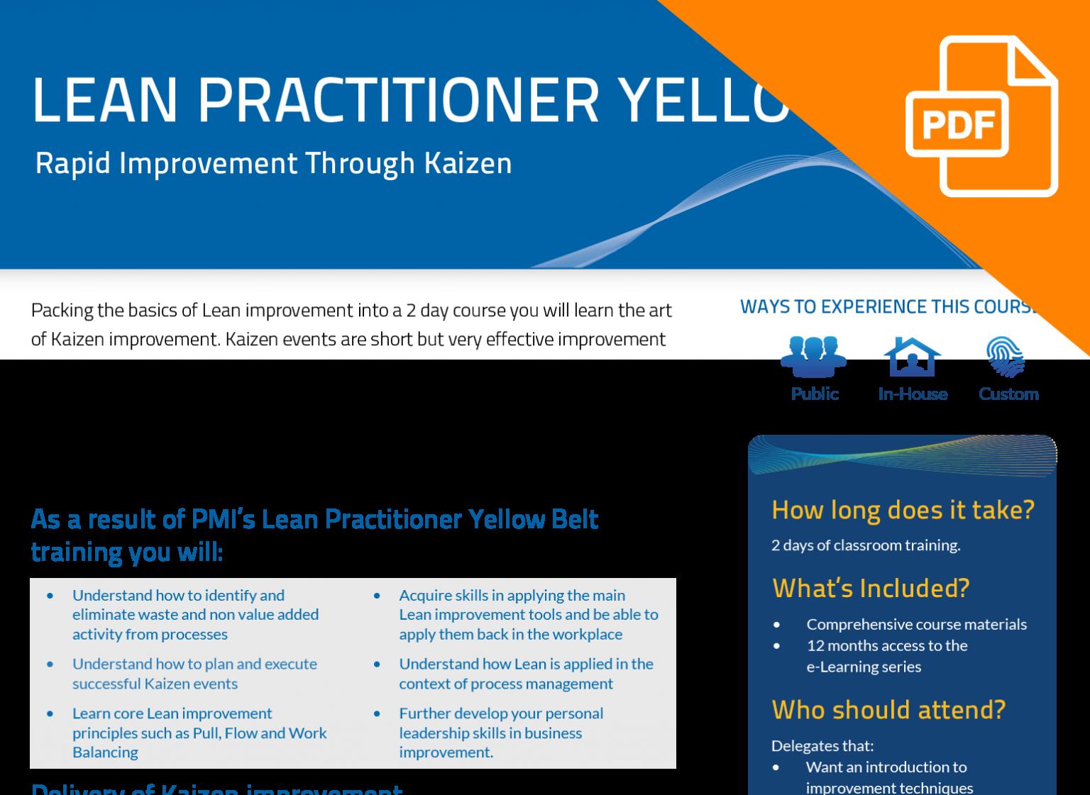 FLYER: Lean Practitioner Yellow Belt