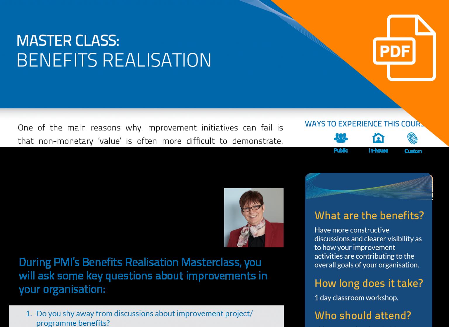 FLYER: Benefits Realisation Master Class