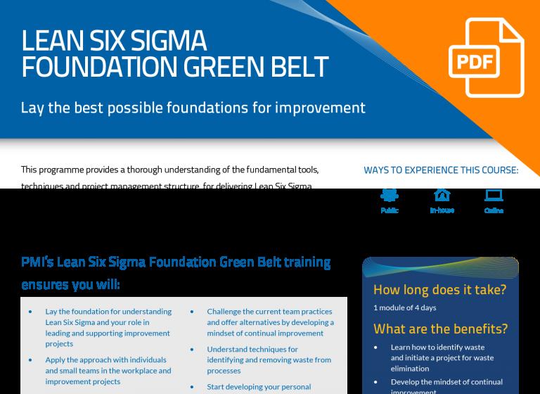 FLYER: Lean Six Sigma Foundation Green Belt