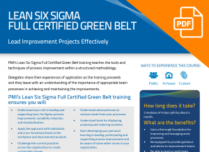 FLYER: Lean Six Sigma Full Certified Green Belt (8-day)