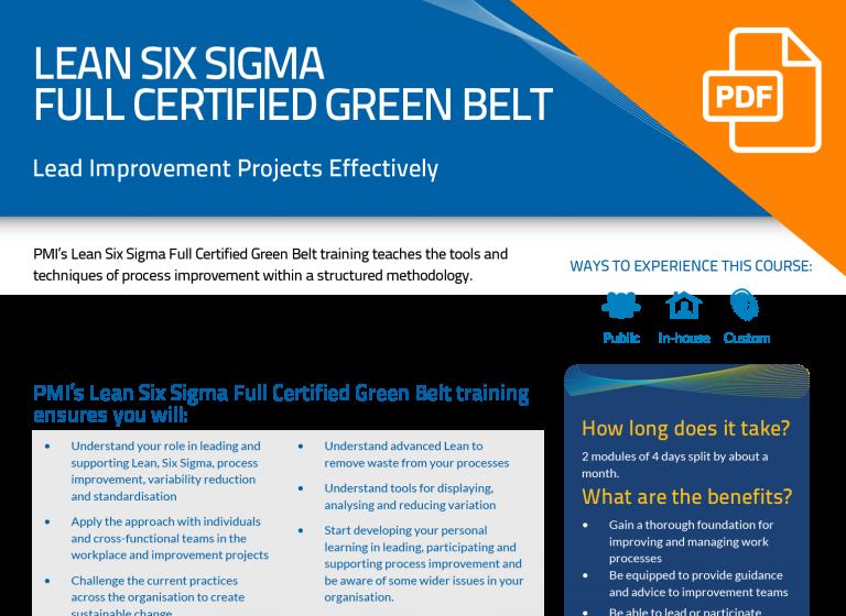 FLYER: Lean Six Sigma Full Certified Green Belt (8-day)