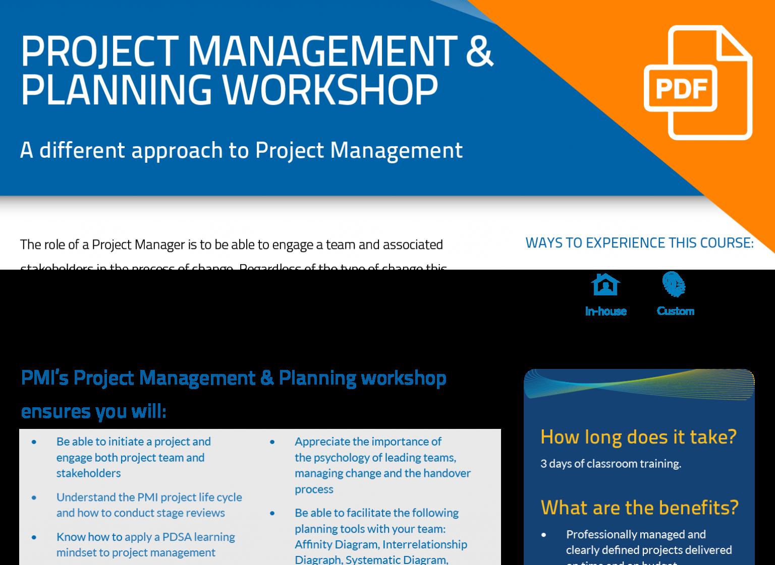FLYER: Project Management & Planning Workshop